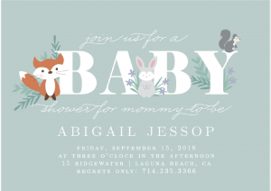 Basic Invite woodland Baby Shower Invitations 2 300x212 - Invitation cards: From baby woodland theme to gender neutral, Bring your party to life.